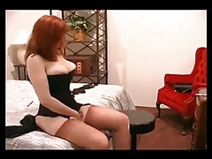Stockings, Redhead, Sexy short hair teacher in stockings sm65