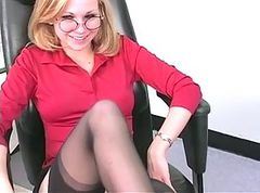 Blonde, Office, Masturbation, Strip, Strip nylon