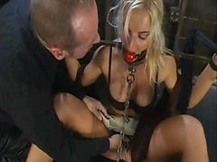 Bus, Blonde, Tied, Drunk abused gangbang blonde