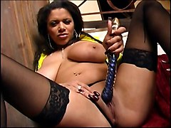 Bus, British, Black, Stockings, British mum solo
