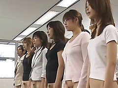 Japanese secretary mini skirt office