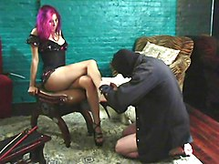 Slave, Slave licking boots of french mistress