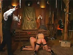 Slave, German master piss on two slaves