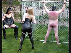 Slave, French aged mistress piss in slave mouth