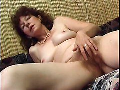 Hairy, Toys, Milf, Strip, Busty red head milf strips naked and fuckers her