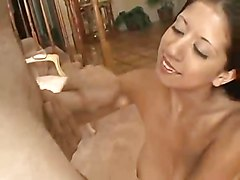 Babe, Blonde euro babe masturbates while giving handjob