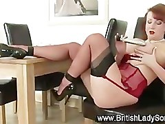 Stockings, Redhead, Redhead in leggings gets fucked
