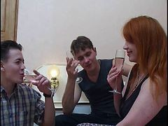 Russian, Mature, Redhead, Girl fuck by many guys