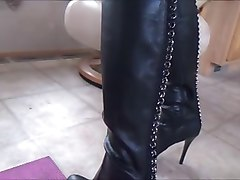 Panties, Leather, Dildo, Leather skirt and boots