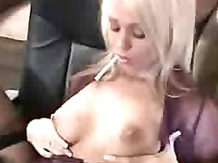 Bus, Blonde, Stockings, Strip, Milf skirt round ass riding