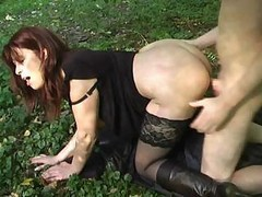 Milf, Outdoor, Dude has two maids he fucks outdoors