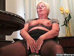 Granny, British, Panties, Pantyhose, Stockings, British solo private club strip