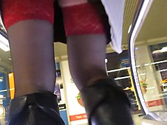Boots, Black, Upskirt, Leather, Stockings, Leather anal