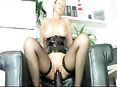 Black, Milf, Dildo, Cum all over clothed girl