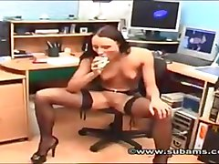 Office, Beautiful babe solo teasing boobs