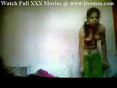 Indian, Maid, Maid watches man wank