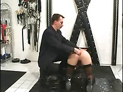 Anal, German, Slave, German slave eat cum