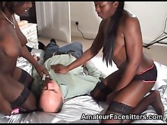 Black, Grandpa, Ebony skinny girl facesit