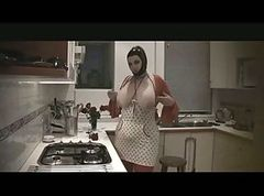 Fetish, Kitchen, Latex, Bbw, Big Tits, Saggy tits women gets fucked in kitchen by black