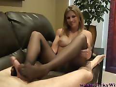 Panties, Footjob, Pantyhose, Hot mom handjob