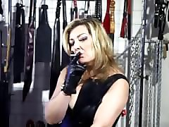 Smoking, Leather, Gloves, Fat mommy smoking son sex at home