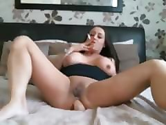 Bus, Smoking, Fine brunette show her hot body and masturbate