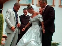Gangbang, Bride, Wedding, Russian blonde bride gangbang
