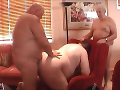 Chubby, Threesome, Older hairy blonde mature anal