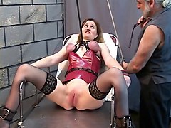 Slave, Train, Slave cums under table in bar