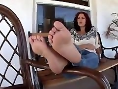 Mature feet sniffing with handjob