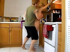 Kitchen, Mom jerks and blows son to relieve tension