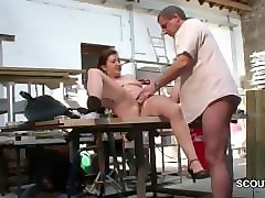 German, Stockings, Beautiful mom seduces a young boy to fuck