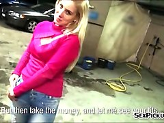 Czech, Gangbang, Czech streets - veronika blows dick for cash