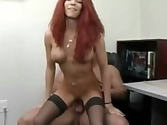 Stockings, Redhead, Bitches in stockings getting pussy licked