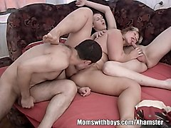 Gangbang, Mature granny gangbanged and creamped young boys