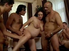 Gangbang, Pregnant, Ebony milf and daughter gangbang