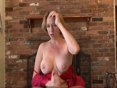 Mom, Hot busty mom sucking cock and tit fucking