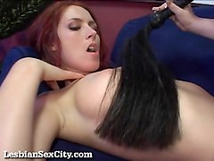 Lesbian, Redhead, Shemale cumming in their own mouth