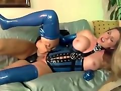 Blonde, Latex, Stockings, Gloves, Fucking on a car