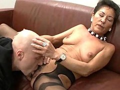 Granny, Hairy, Black, German, Lingerie, Threesome, Mature, Strapon hairy granny