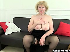 Granny, British, Stockings, British female solo