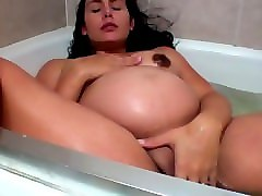 Bath, Hidden, Spy, Pregnant stepmom masturbating