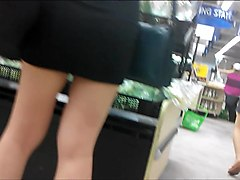 Public, Tight, Big booty in tight skirt