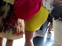 Public, Tight, Tight-skirt spank tied bend-over behind