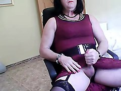 Crossdresser, Dress, Cumshot, Change the dress