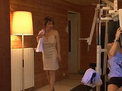French, Sauna, Milf, Adorable babe double penetrated in sauna