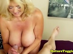 Housewife, Wife, Mature handjob/cumshot