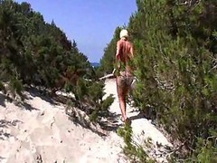 Blonde, German, Beach, Blond stripping on beach
