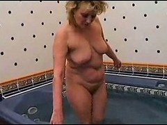 Bath, Mature, Busty mature bath blowjob