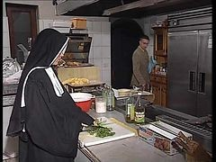 Nun, Kitchen, German, Ass, Babysitter kitchen